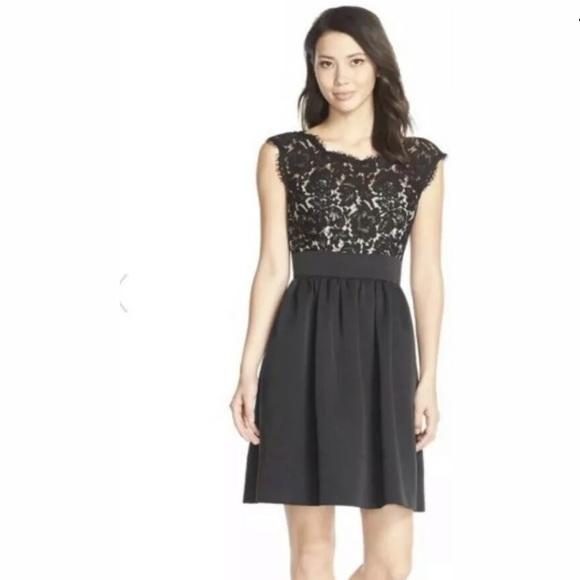 Eliza J Dresses & Skirts - Eliza J Lace & Faille Fit N Flare Dress Black